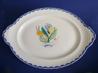 Rare Susie Cooper Gray's Pottery Large Platter - 'Tulip' Pattern 8037 c1929